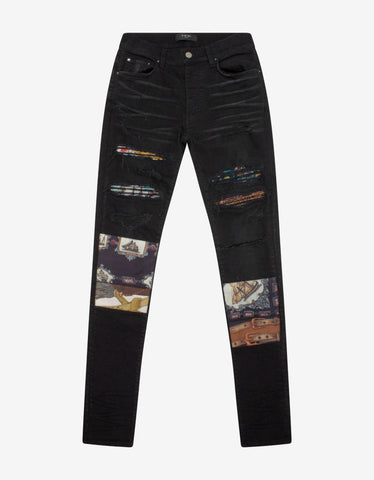 Blue Destroyed Knee Skinny Jeans