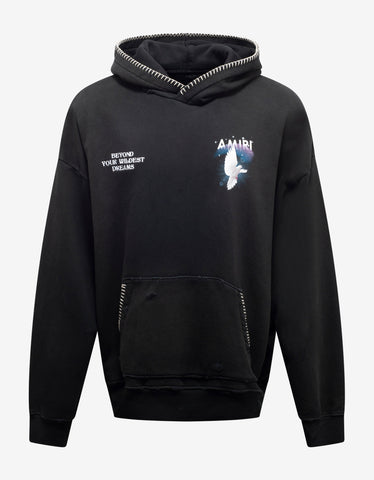 Black Logo Sweatshirt with Nylon Inserts