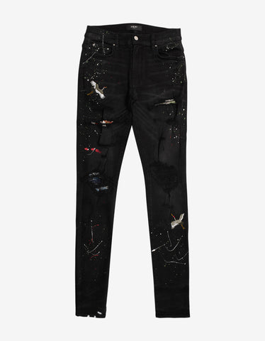 Art Patch Aged Black Jeans