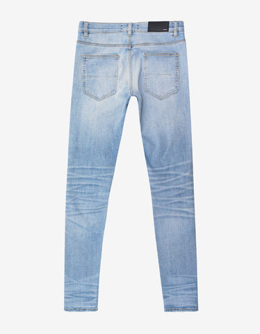 Amiri Art Patch Blue Distressed Skinny Jeans