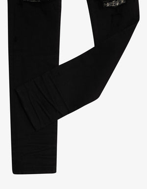 Black Music Note Patch Skinny Jeans