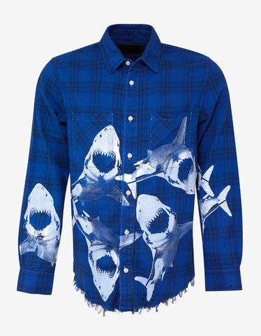 Blue Shark Flannel Shirt