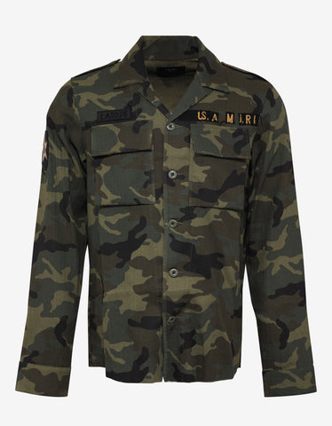 Amiri Green Camouflage Military Shirt
