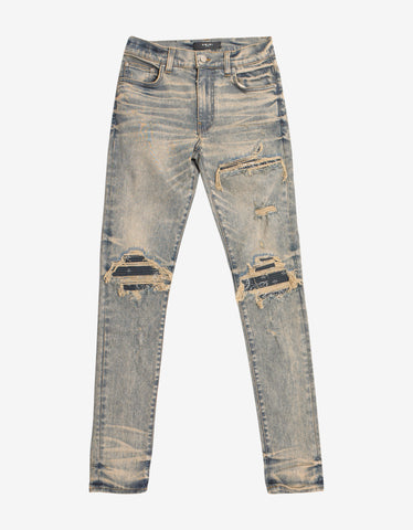 Amiri MX1 Charcoal Bandana Dirty Indigo Jeans