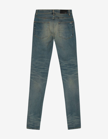 Amiri MX1 Classic Indigo Leather Insert Distressed Skinny Jeans