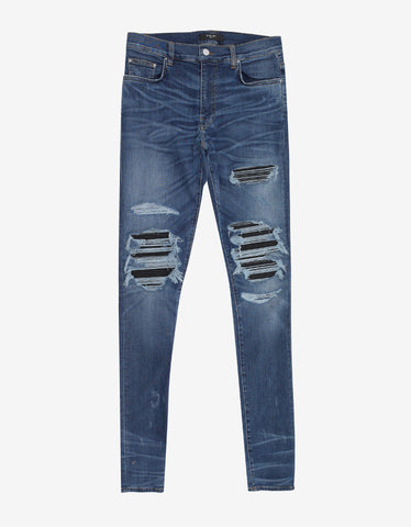 Amiri MX1 Med Indigo Leather Patch Distressed Skinny Jeans