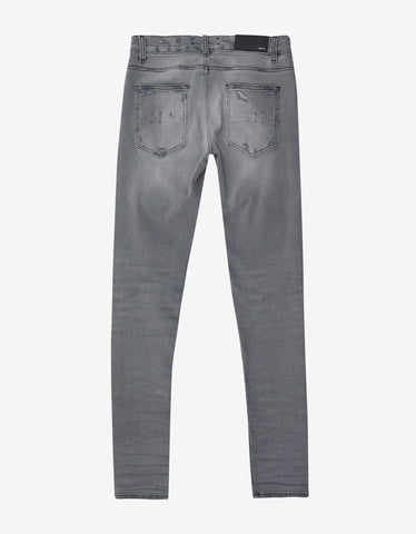 Amiri MX1 Patch Light Grey Distressed Skinny Jeans