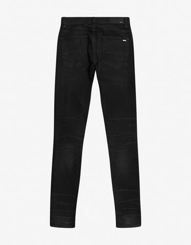 Amiri MX1 Rough Black Pleated Patch Skinny Jeans