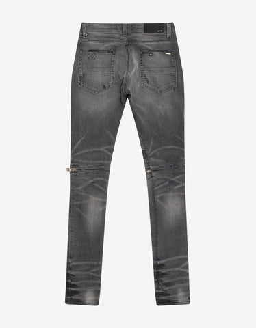 Amiri MX2 Faded Grey Leather Insert Skinny Jeans