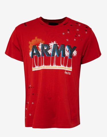 Amiri Red Vintage Army T-Shirt