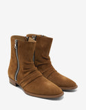 Tobacco Brown Suede Leather Stack Boots