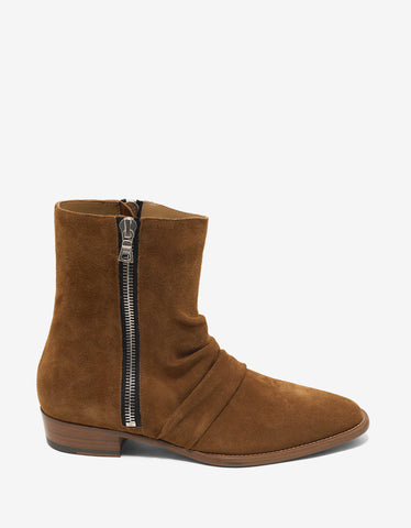 Amiri Tobacco Brown Suede Leather Stack Boots