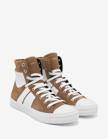 Amiri Tan Sunset Suede Leather High Top Trainers