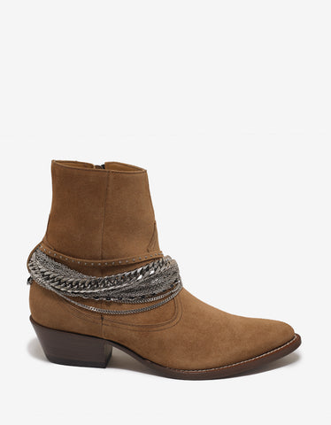 Amiri Brown Western Chain Boots