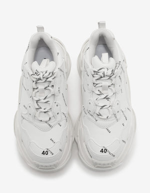 Triple S White All-Over Logo Trainers