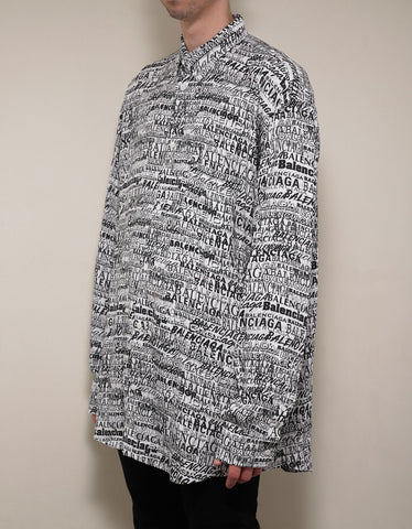 Balenciaga All-Over Logo Fluid Shirt