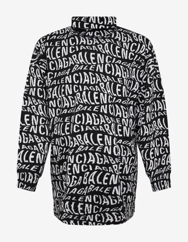 Balenciaga All-Over Logo Oversized Turtleneck Sweater