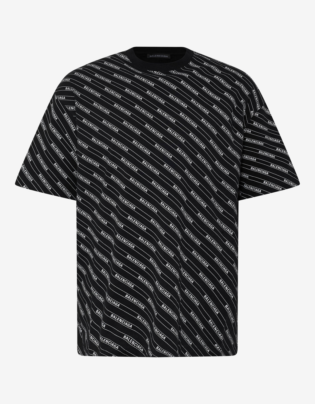 Black All-Over Logo Lines T-Shirt