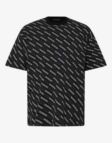 Balenciaga Black All-Over Logo Lines T-Shirt