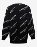 Black All-Over Logo Oversize Knitwear