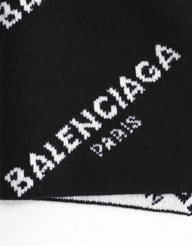 Balenciaga Black All-Over Logo Scarf