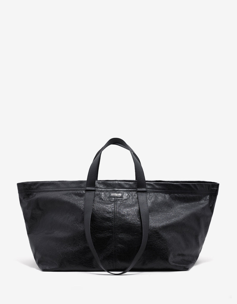 Black Arena Leather Carry Shopper Bag