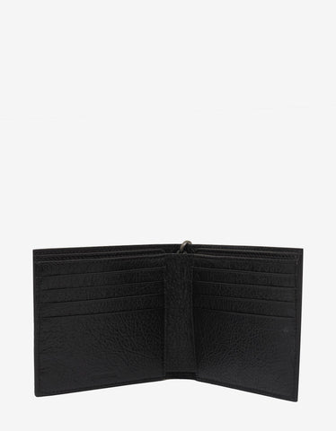 Balenciaga Black Graffiti Chain Leather Billfold Wallet
