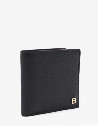 Balenciaga Black 'B' Badge Grain Leather Wallet