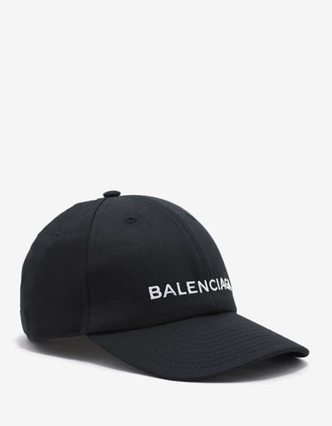 Balenciaga Black Baseball Cap with Logo