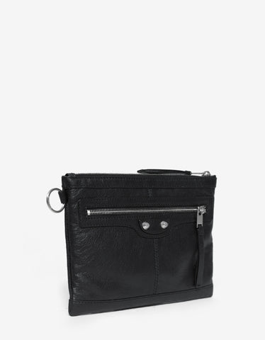 Balenciaga Black Arena Leather Clutch