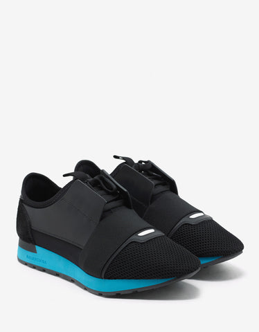 Balenciaga Black & Turquoise Blue Panelled Race Runners