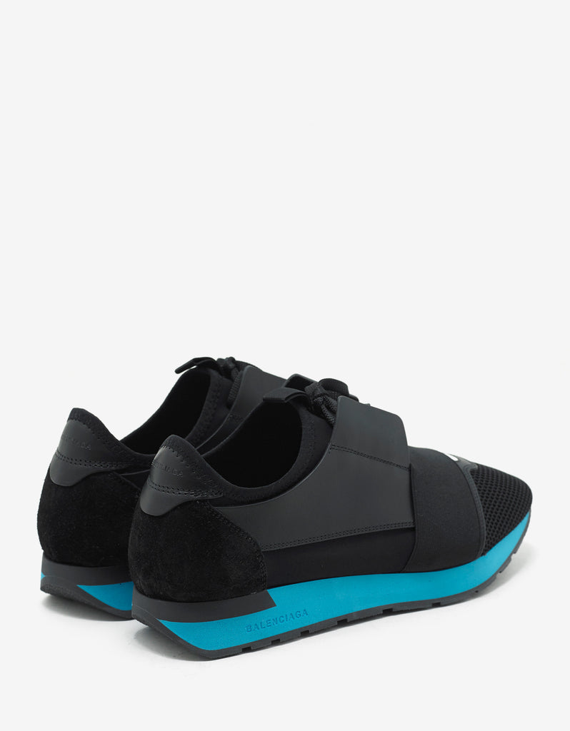 Black & Turquoise Blue Panelled Race Runners