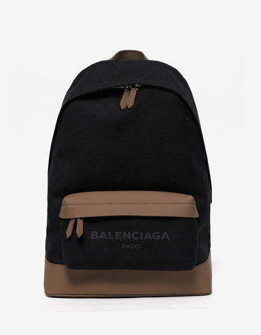 Balenciaga Black & Brown Canvas Navy Backpack