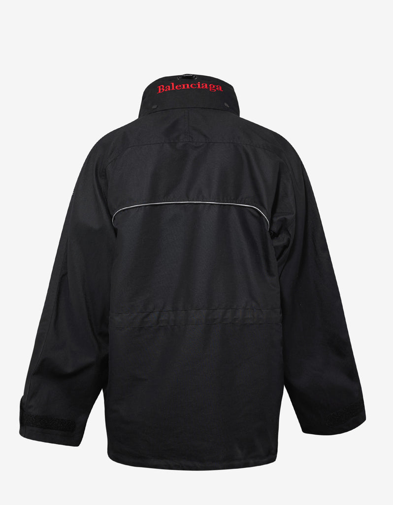 Black C Shape Parka with Red Logo
