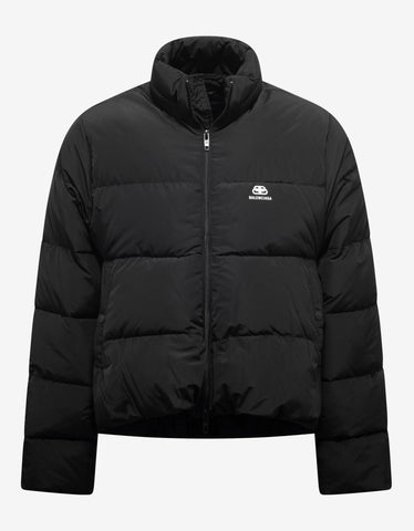 Black Logo Tape Puffer Jacket