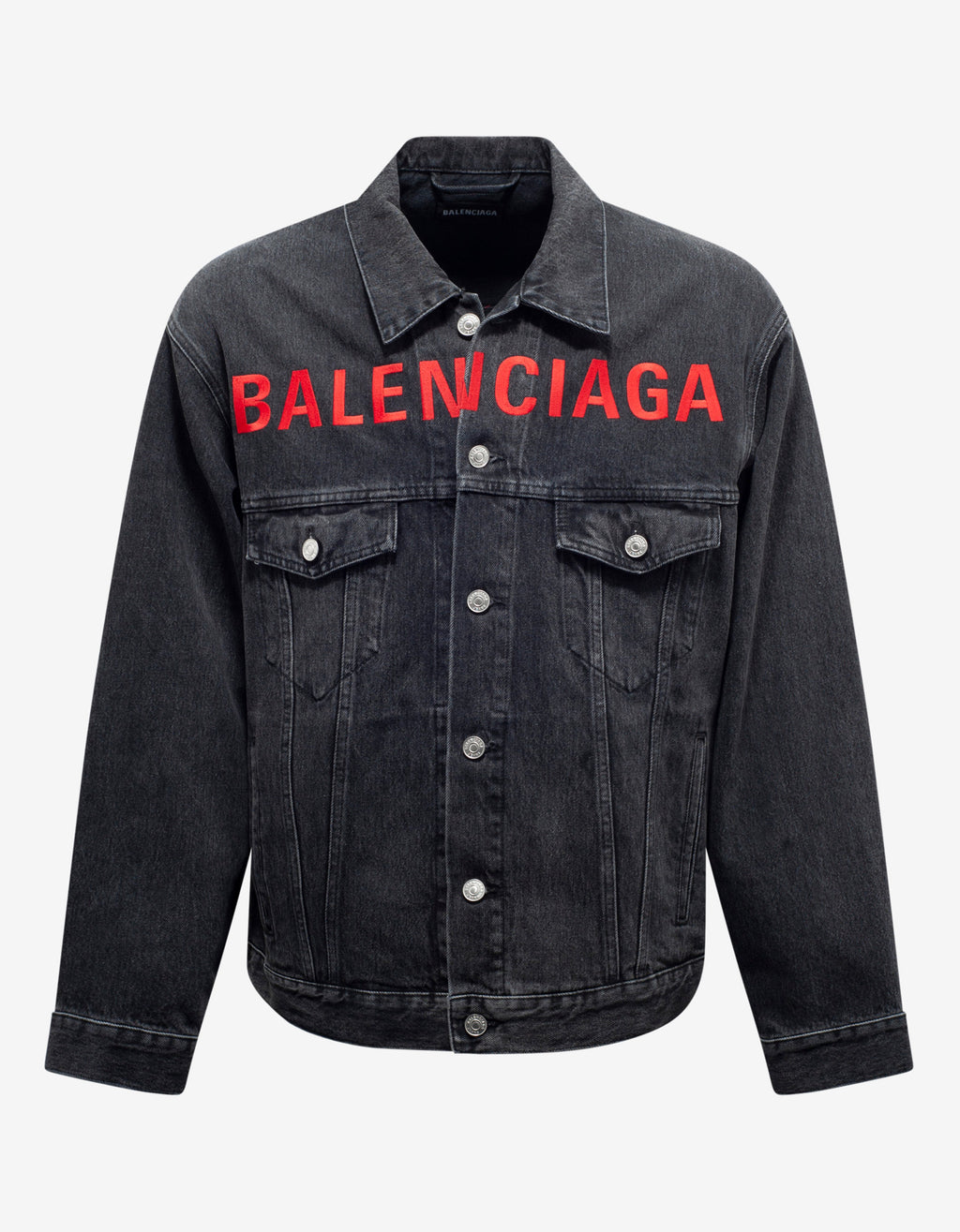 Black Chest Logo Denim Jacket