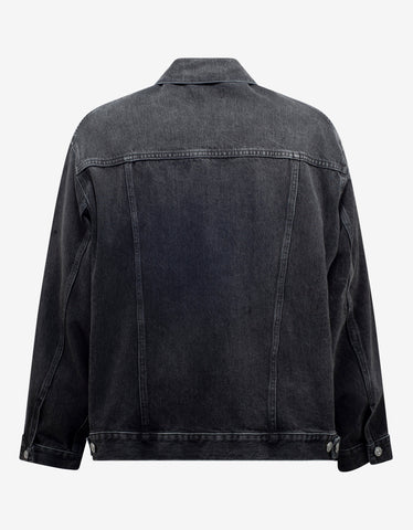 Balenciaga Black Chest Logo Denim Jacket