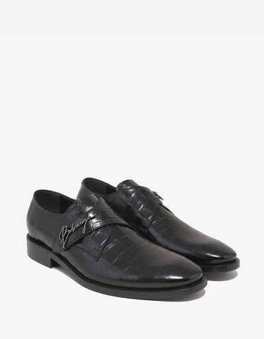 Balenciaga Black City Evening Croc Embossed Shoes