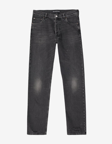 Balenciaga Black Distressed Denim Jeans