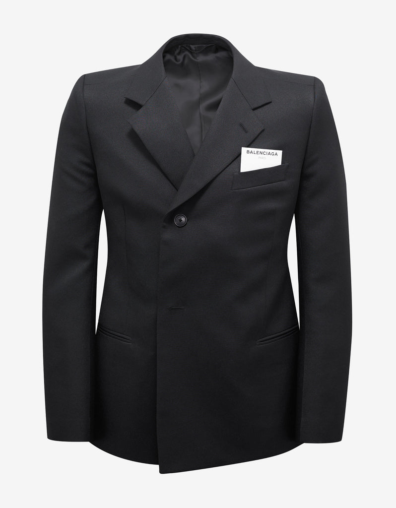 Black Double-Breasted Shrunk Blazer