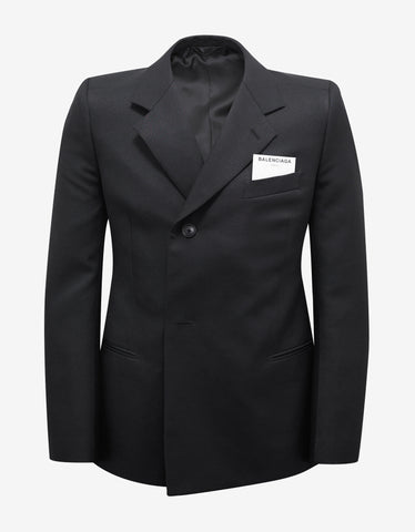 Balenciaga Black Double-Breasted Shrunk Blazer