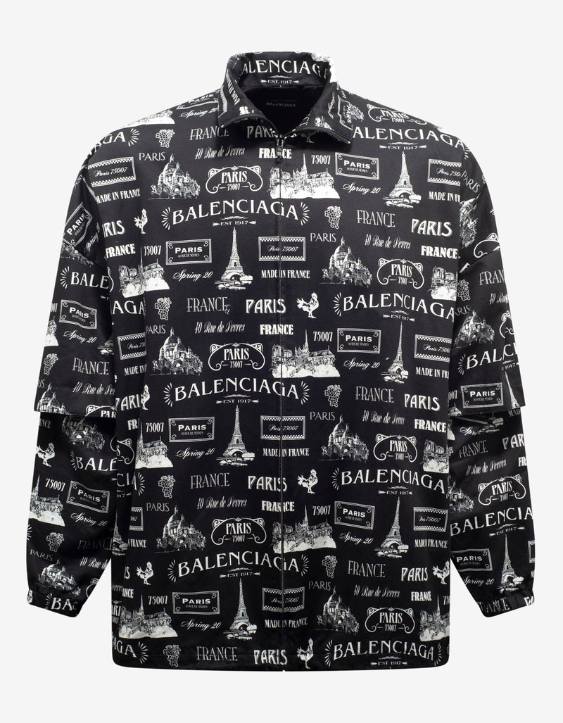 Black Double Sleeve Paris Resto Print Windbreaker -