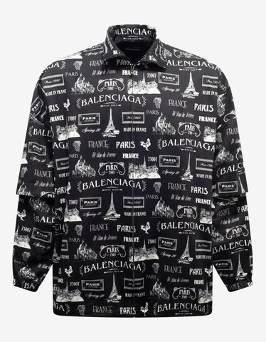 All-Over Logo Print Padded Shirt