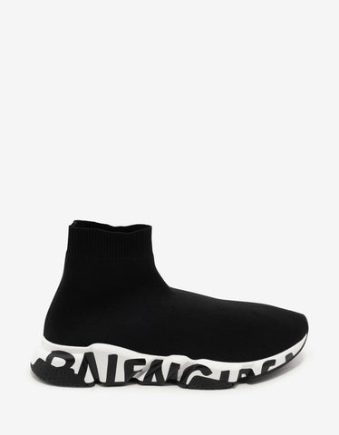 Balenciaga Black Graffiti Logo Sole Speed Trainers
