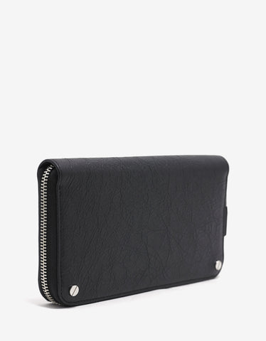 Balenciaga Black Grain Leather Zip Wallet