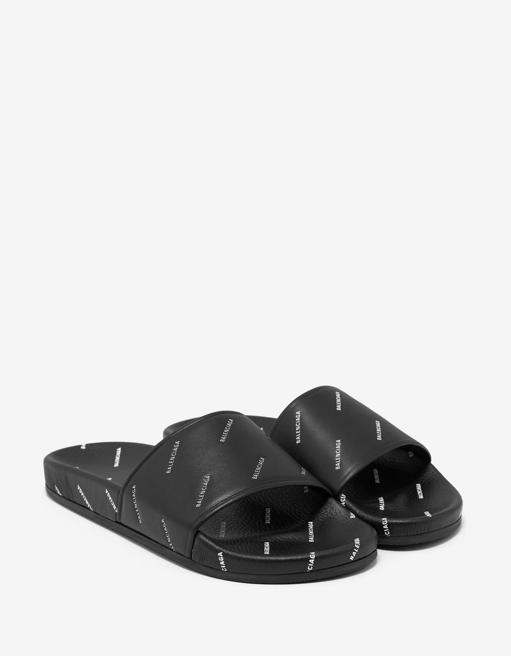 Black Leather All-Over Logo Slide Sandals