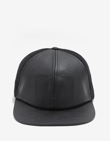 Balenciaga Black Wool & Leather Cap
