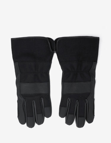 Balenciaga Black Leather & Wool Gloves