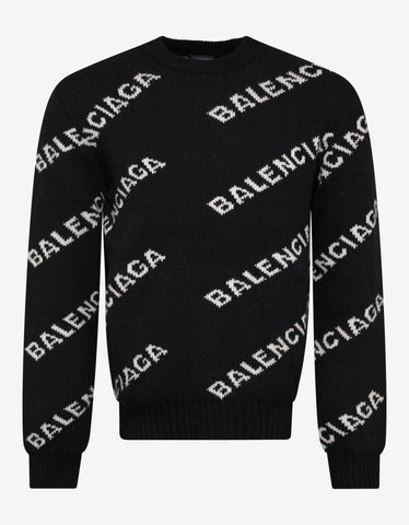 Balenciaga Black Logo Jacquard Crew Neck Sweater