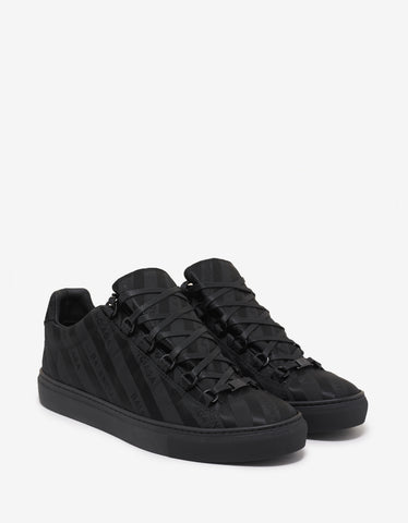 Balenciaga Black Nylon Arena Low Logo Trainers